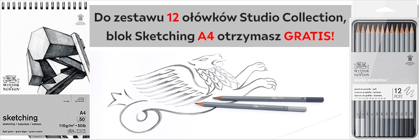 W&N 12 olowkow+blok a4 sketching