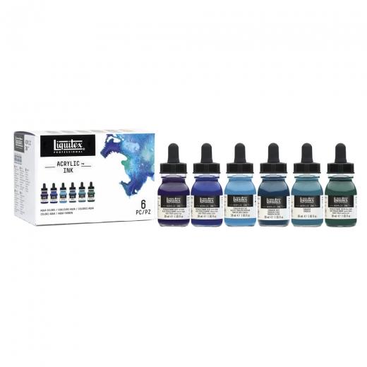 Liquitex zestaw  tuszy akrylowych 30ml aqua colors