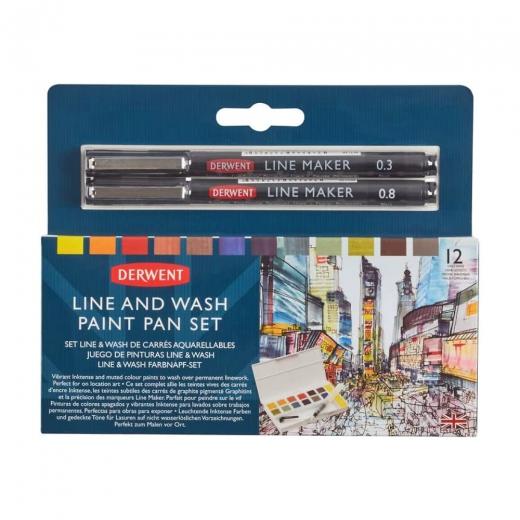 Derwent Line&Wash zestaw 12 farb z cienkopisami