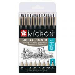Sakura pigma micron zestaw cienkopisów 6 + 1 brush + 1 pn