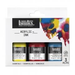 Liquitex zestaw 3 tuszy akrylowych 30ml essential