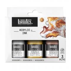 Liquitex zestaw 3 tuszy akrylowych 30ml iridescents