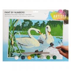 Artiste duży zestaw do malowania po numerach - łabędzie