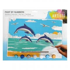 Artiste duży zestaw do malowania po numerach - delfiny