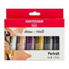 Talens amsterdam zestaw farb akrylowych 6x20ml portrait