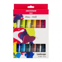 Talens amsterdam zestaw farb akrylowych 12x20ml landscape