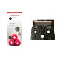 CarandAche zestaw ołówków swiss wood 3szt + gumka i temperówka