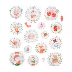DP Craft naklejki z brokatem świąteczne wianuszki 18 sztuk