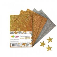 Happy Color naklejki gwiazdki brokatowe 5 arkuszy A5