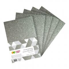 Happy Color arkusze piankowe brokatowe silver A4 5 arkuszy