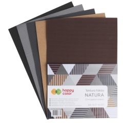 Happy Color tektura falista natura A4 5 kolorów