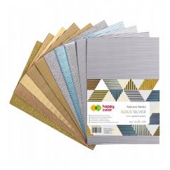 Happy Color tektura falista mix gold silver A4 10 arkuszy