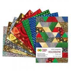 Happy Color blok holograpchic A4 10 arkuszy 5 kolorów 5 motywów