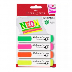 Faber-Castell zestaw 4 markerów do tkanin neon blister