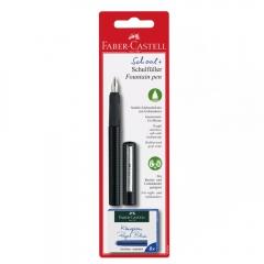 Faber-Castell pióro wieczne szkolne czarne + 6 naboi
