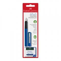 Faber-Castell pióro wieczne szkolne niebieskie + 6 naboi