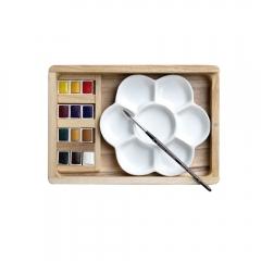 Lefranc&Bourgeois zestaw 12 akwareli w półkostkach + pędzel i paleta