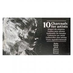 Renesans węgiel rysunkowy prasowany w sztabkach biały 10 sztuk