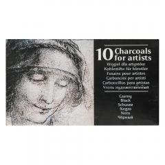 Renesans węgiel rysunkowy prasowany w sztabkach czarny 10 sztuk