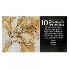 Renesans węgiel rysunkowy prasowany w sztabkach sepia 10 sztuk