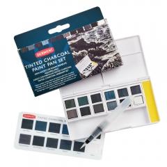 Derwent tinted charcoal paint pan set półkostki - 12 kolorów
