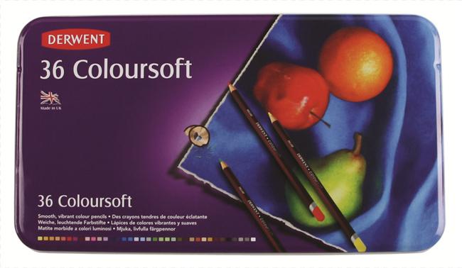 Derwent coloursoft zestaw 36 miękkich kredek metal opak