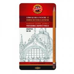 Koh-i-noor zestaw 12 ołówków grafitowych 5B-5H