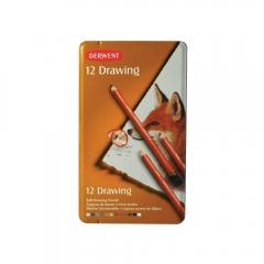 Derwent drawing zestaw 12 rysunkowych kredek metal opak