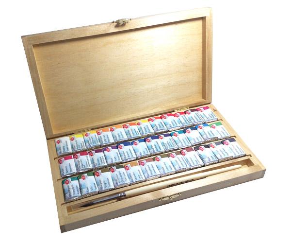 Białe noce farby akwarelowe 36 kolorów drewniana kaseta