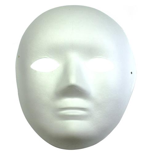 Maska z paper mache z gumką- twarz dziecięca