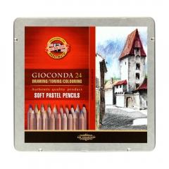 Koh-i-noor gioconda zestaw 24 pasteli suchych w drewnie met. opa