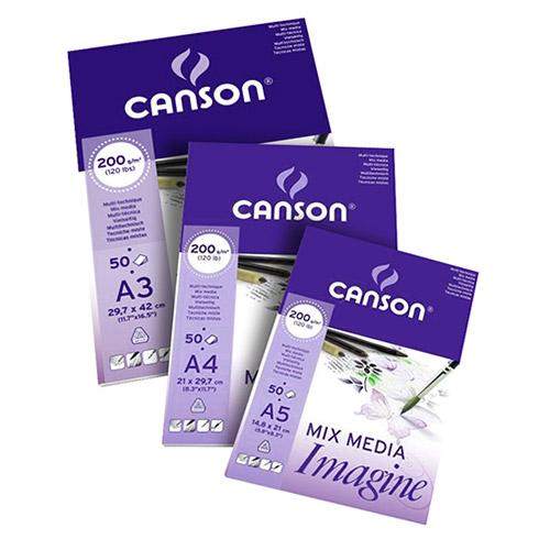 Blok Canson imagine mix media do akwareli oraz węgla 200g 50ark