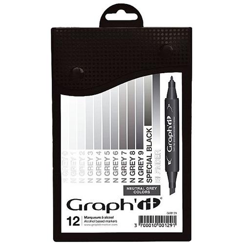 Graphit neutral grey zestaw 12 markerów