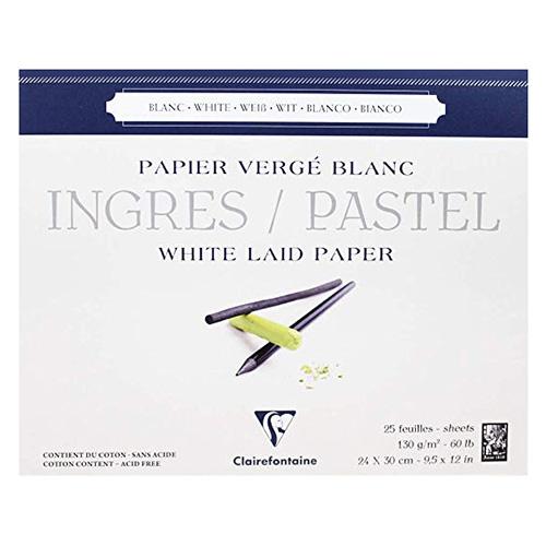 Blok Clairefontaine white ingres do pasteli biały 130g 25ark