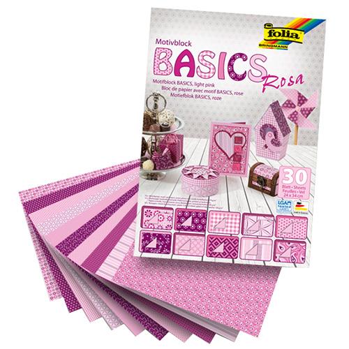 Blok z papierem do scrapbookingu 30 arkuszy - różowy