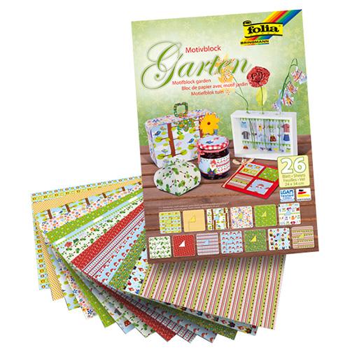 Blok z papierem do scrapbookingu 26 arkuszy - garden