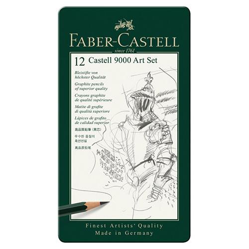 Faber-Castell 9000 zestaw 12 ołówków 8B-2H metalowe opakowanie