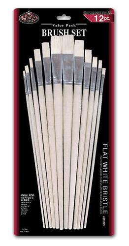 Royal zestaw 12 pędzli seria RL9601 szczecina biała płaskie