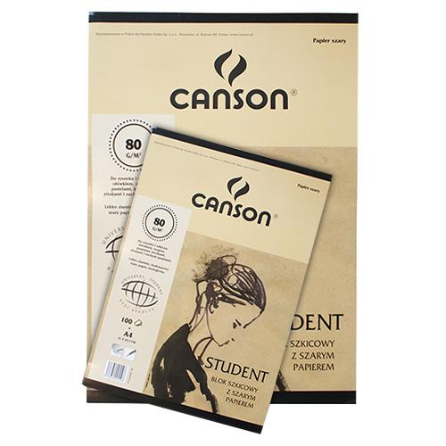 Blok Canson student szkicowy z szarym papierem 80g