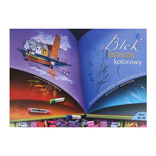 Blok Kreska artystyczny z kolorowymi kartkami 300g 20ark