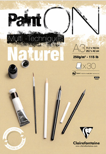 Blok Clairefontaine paint on naturel 250g 30ark