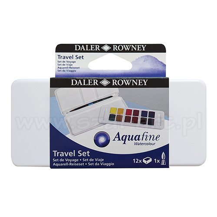 Daler Rowney aquafine travel zestaw 12 akwareli w kostce