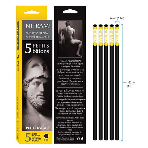 Nitram węgiel rysunkowy naturalny okrągły 6mm 5szt