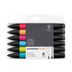 Winsor&Newton brushmarker mid tones zestaw 6 kolorów 0290124