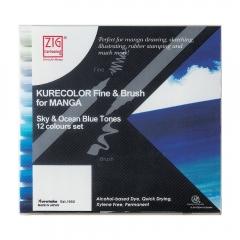 Kurecolor fine&brush manga sky&ocean blue zestaw 12 pisaków