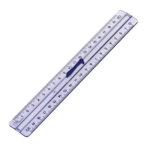 Linijka plastikowa z  podwójną skalą 20cm Pratel