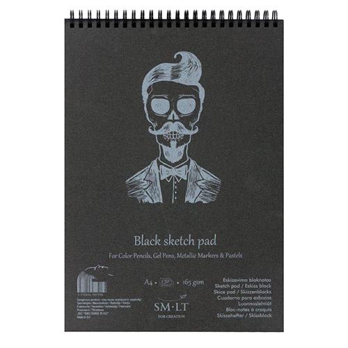 Blok SM-LT black sketch pad A4 30ark 165g spirala