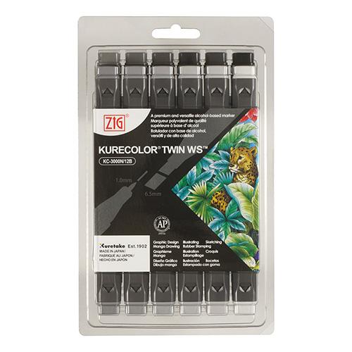 Kuretake zestaw 12 markerów kurecolor twin ws cool gray