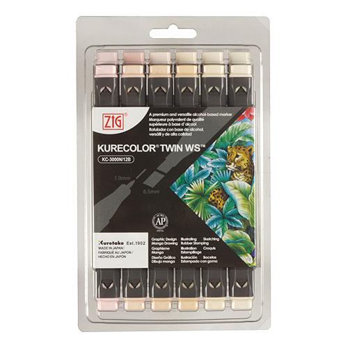 Kuretake zestaw 12 markerów kurecolor twin ws neutral&natural