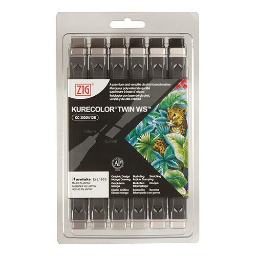 Kuretake zestaw 12 markerów kurecolor twin ws warm gray